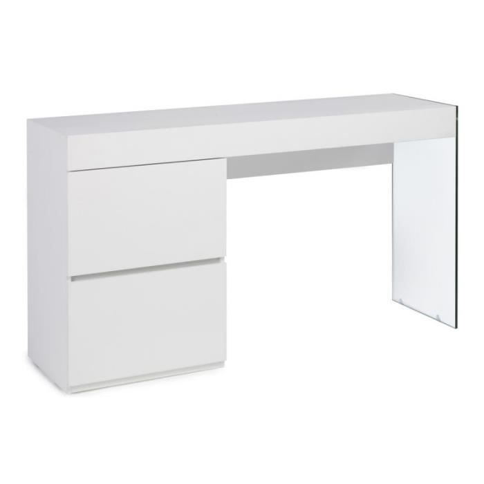 "BUREAU  Bureau Design 2 Tiroirs ""mariano"" 160cm Blanc - Pa"