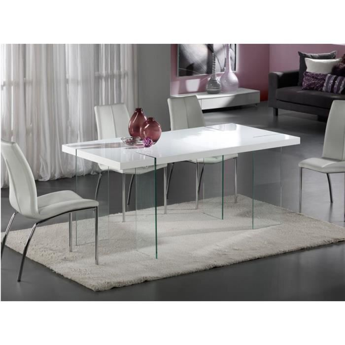 table design de salle a manger laquee blanc et verre. Black Bedroom Furniture Sets. Home Design Ideas