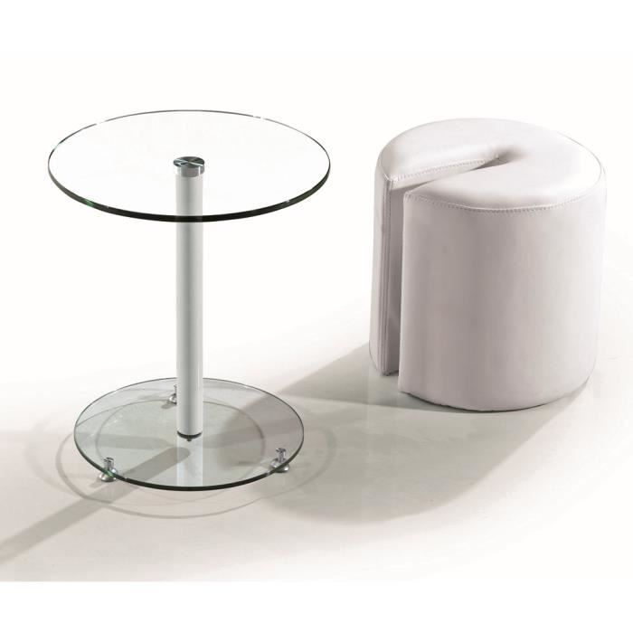 bout de canap buzz pouf table ronde blanc achat vente. Black Bedroom Furniture Sets. Home Design Ideas