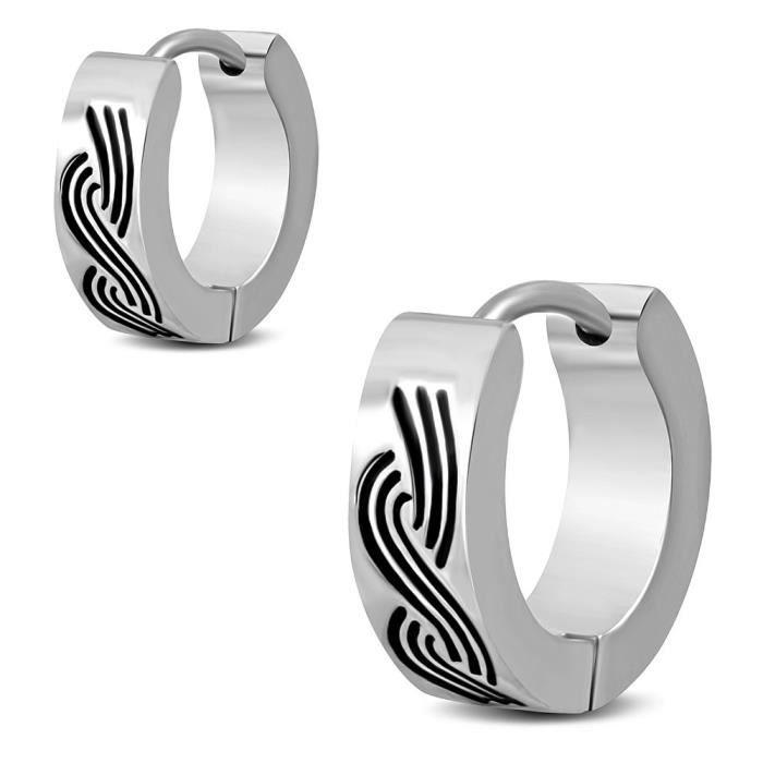 Paire de boucles d/'oreilles anneaux en acier nœuds celtiques