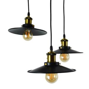 Suspension luminaire industrielle achat vente pas cher for Lustre suspension triple