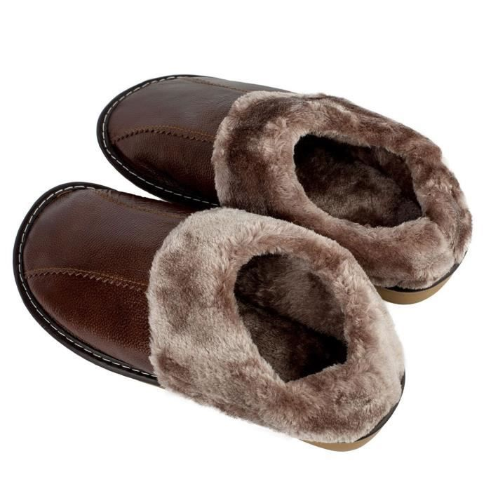 Winter Genuine Leather Slippers, Warm Faux Fur Lining Plush Mules Slipper, Closed Toe And Back House IIRTI Taille-40 1-2