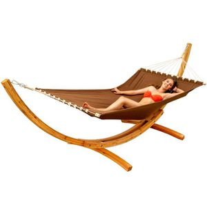 HAMAC Hamac XXL avec Support en Bois Naturel Chaise Long