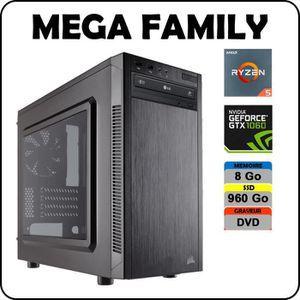 UNITÉ CENTRALE  PC MEGA FAMILY AMD Ryzen 5 2600 / 8 Go DDR4 / SSD