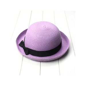 CHAPEAU - BOB Bowknot Roll-up Large Brim Dome Paille Chapeau de be0cd803996
