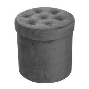 POUF - POIRE COTTON WOOD Pouf Coffre Velours - Ø35 cm - Gris