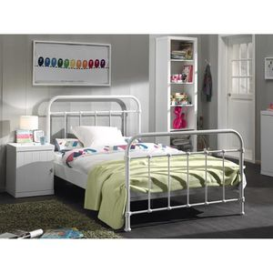 lit et sommier 120 blanc achat vente lit et sommier 120 blanc pas cher cdiscount. Black Bedroom Furniture Sets. Home Design Ideas