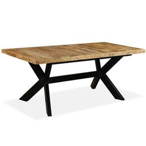 TABLE À MANGER SEULE Table de salle à manger Bois de manguier Acier 180