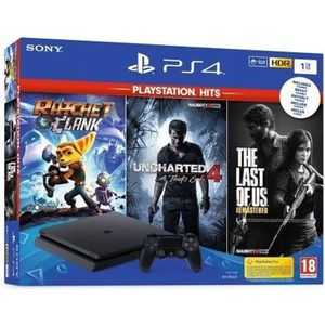 CONSOLE PS4 Pack PS4 1 To + 3 Jeux Playstation Hits + Abonneme