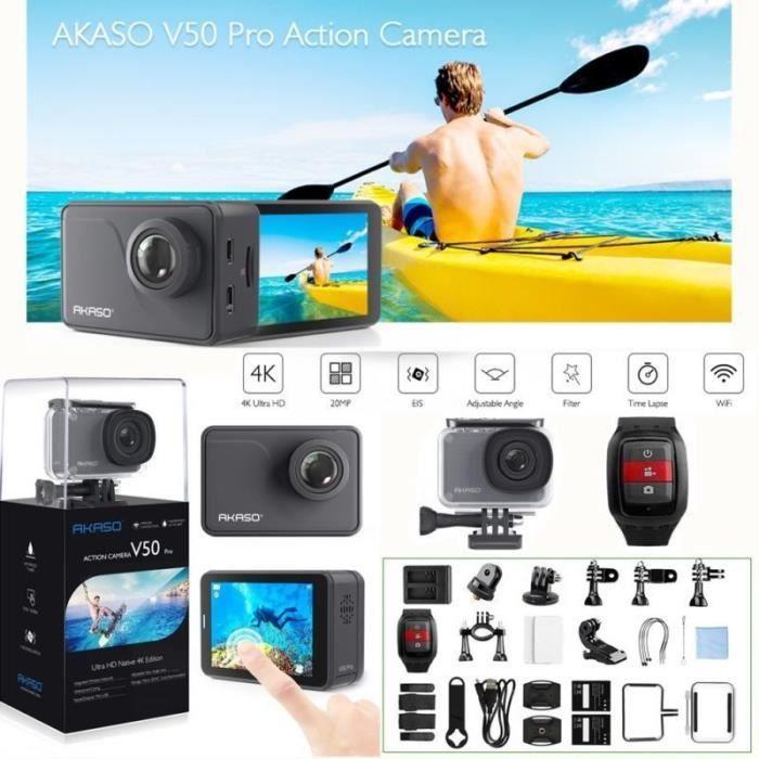 AKASO V50 PRO Caméra Sport Etanche 4k Wifi 20MP, Action Cam 30fps, Caméscope Ultra HD EIS, Écran LCD Tactile, Kits d'Accessoires