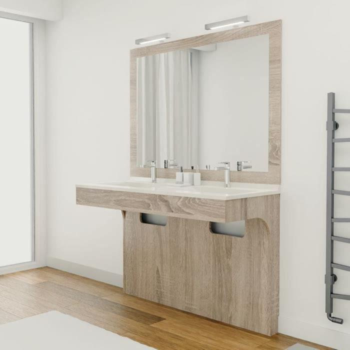 Meuble ALTEA 120 cm avec plan vasque et miroir - Décor cambrian oak