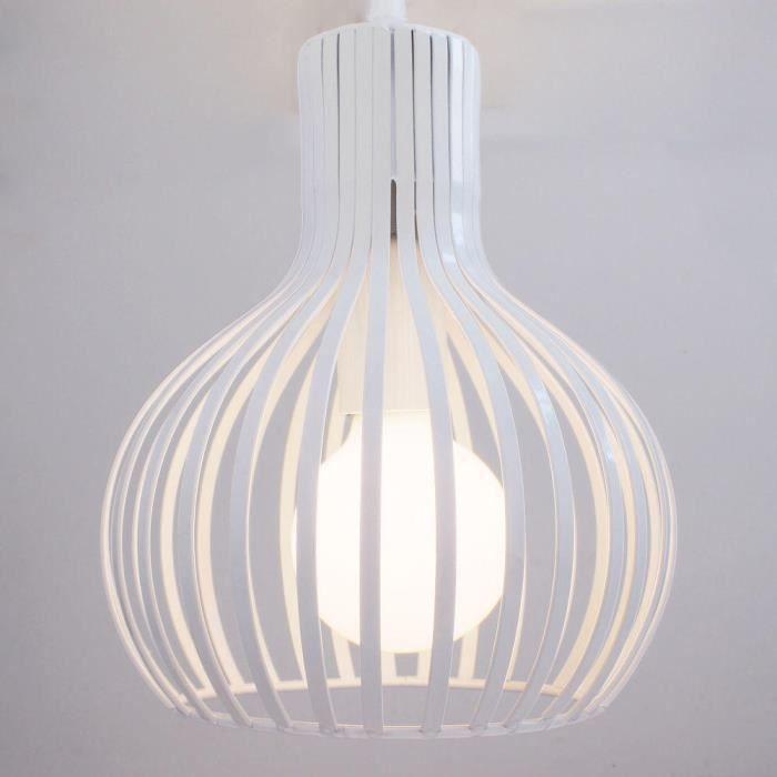 MOGOD Pendentif Suspension Luminaire Lustre Métal Lampe de Plafonde Blanc pour Cuisine Salon Bar