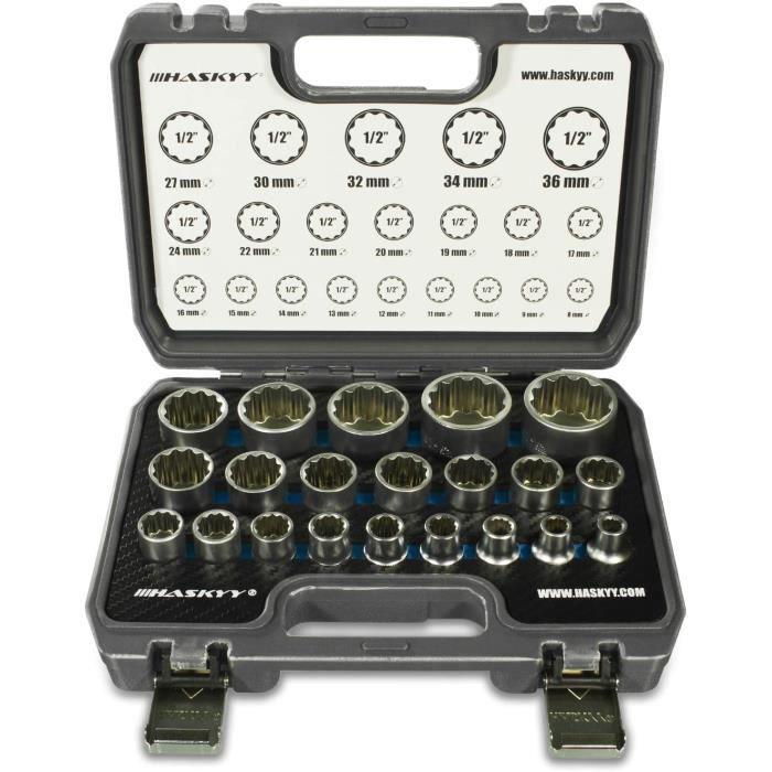 HASKYY® - Lot de 21 clés à douille multidents avec profil 12 et 6 pans, 8-36 mm, XZN Torx