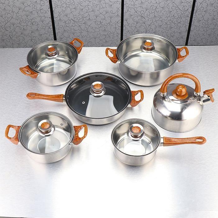 WISS Batterie de Cuisine Inox Induction - 6 Pièces - Casseroles Faitout Marmite bouilloire