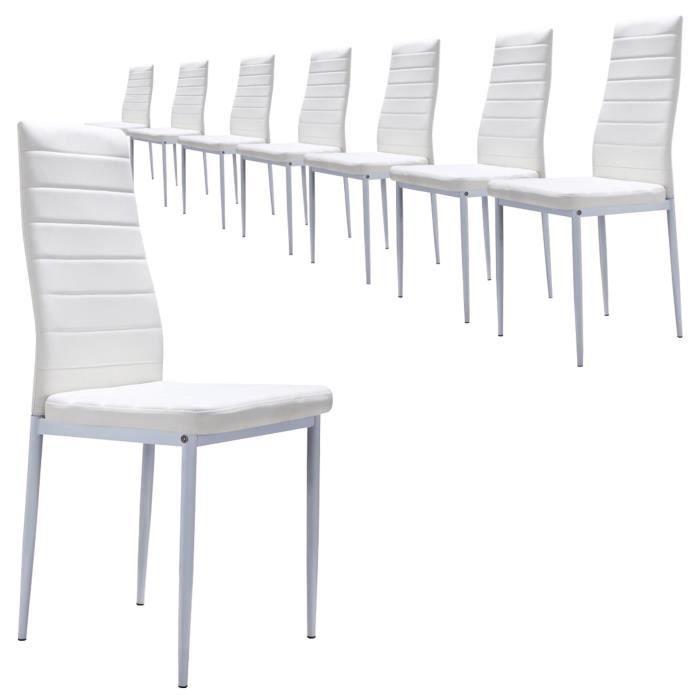 S2 BLANC Lot de 8 Chaises - design et ultra-confort Simili-cuir