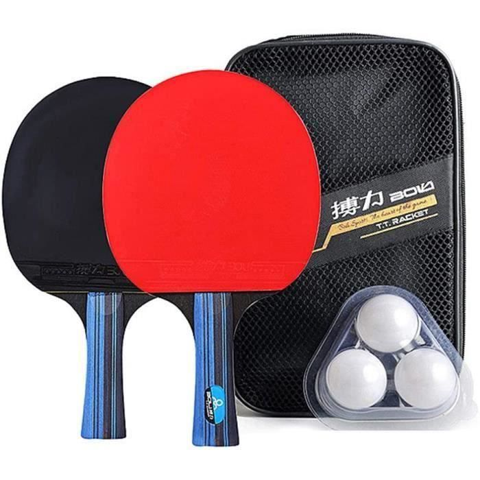 Raquette de Ping Pong Professionnel Set, 2 Raquette de Tennis de Table + 3 Balles de Ping-Pong+ Sac(Horizontal shot / long handle)