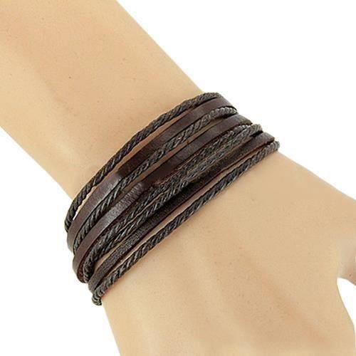 HT Bracelet Réglable en Cuir Tressé Multicouche en Similicuir pour Hommes Avec Bracelet Jonc Brun - HTBDH824B03613