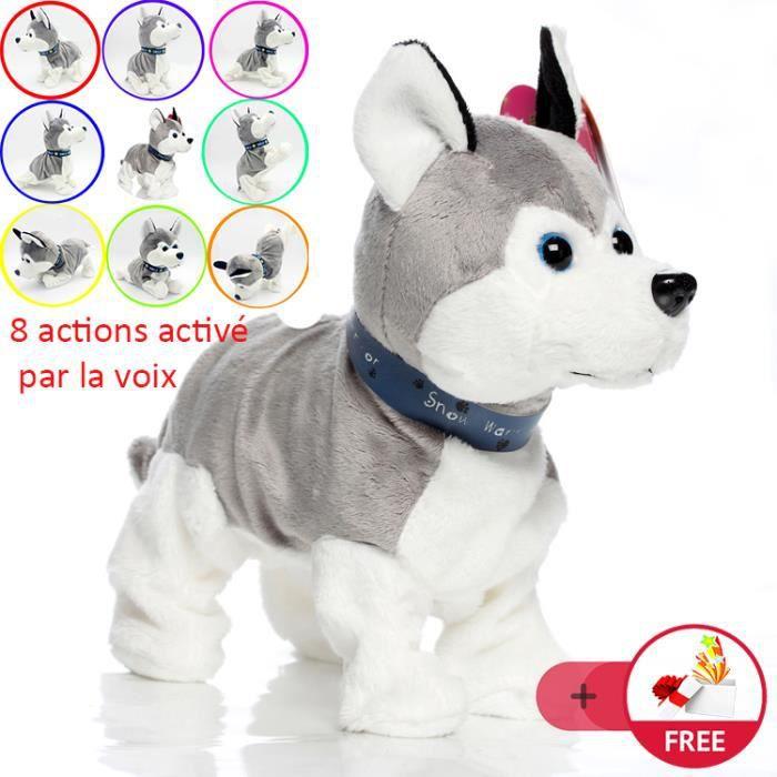 Électronique jouets chien en peluche danse 8 action activé par la voix et la touche intelligent aboiement