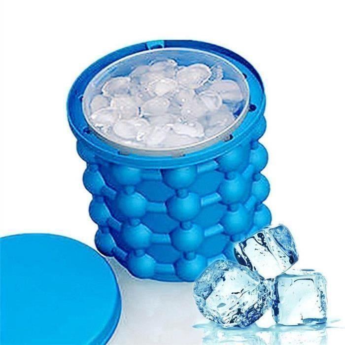 Bac à Glaçon ice cube maker genie Silicone Moules Seau à Glace avec Couvercle(1 Pcs)