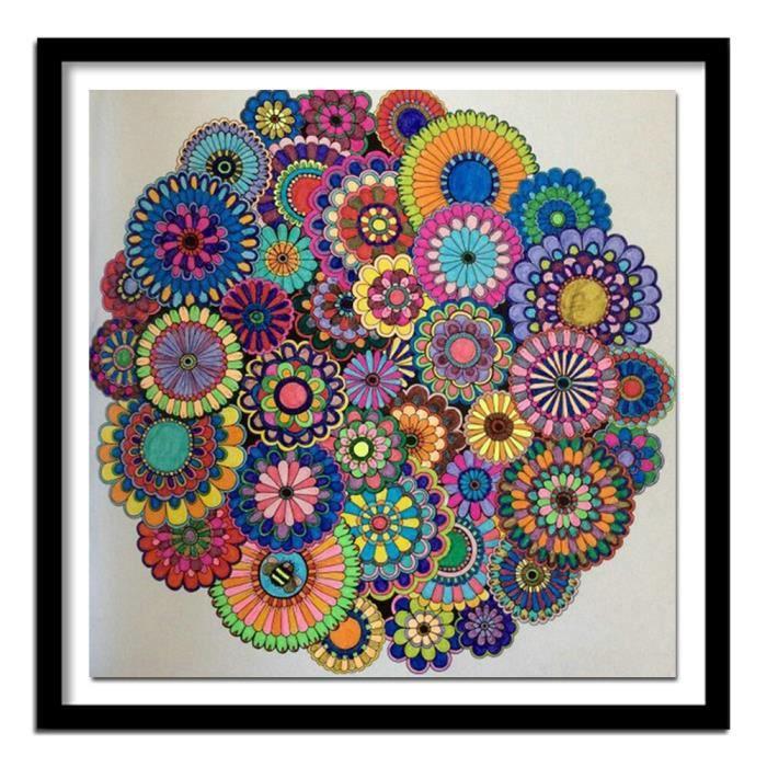 Diamant broderie fleurs Mandala abstrait bricolage diamant peinture modèle strass ve diamant peinture Bricolage , Cadre non incl