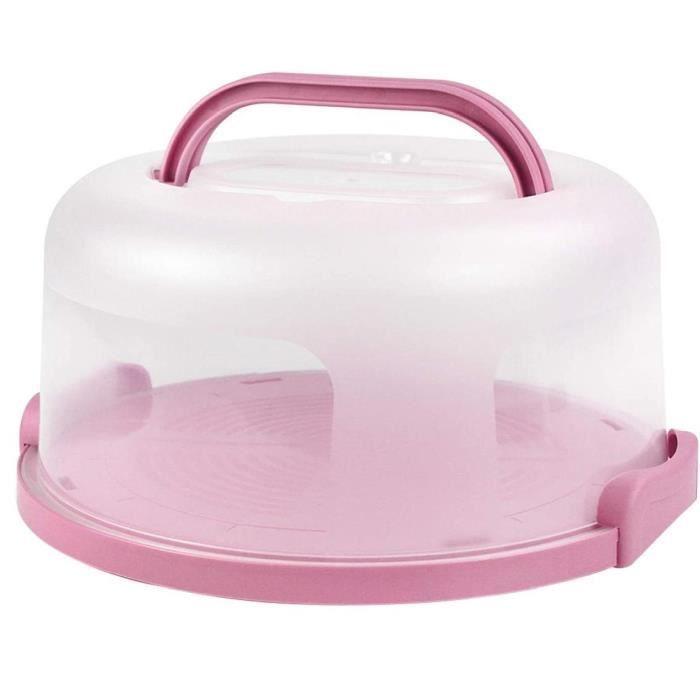 Gâteau gâteau Porte-conteneur Boîte ronde service Pâtisserie Plateau stand PP en plastique rose 10inch