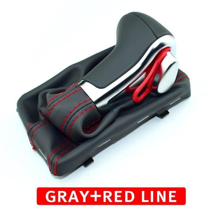 Pièces Auto,Voiture En Cuir Chrome Pommeau de levier de Vitesses Automatique Pour Audi A3 8P A4 B8 A5 A6 C6 Q5 - Type Red line gray
