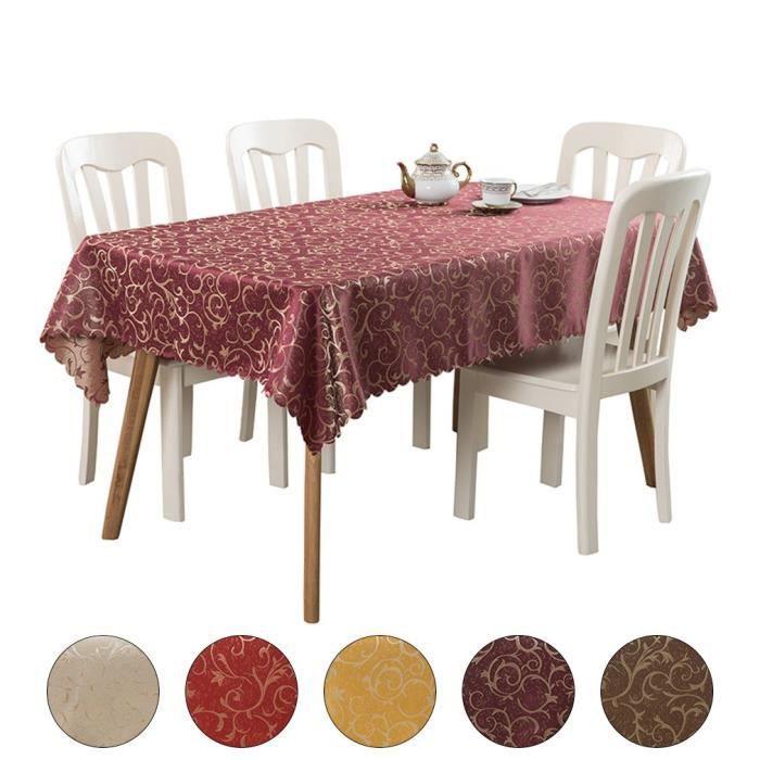 Nappe Rectangulaire Simple Motif Floral pour Table à Manger Restaurant 140*140cm Bordeaux