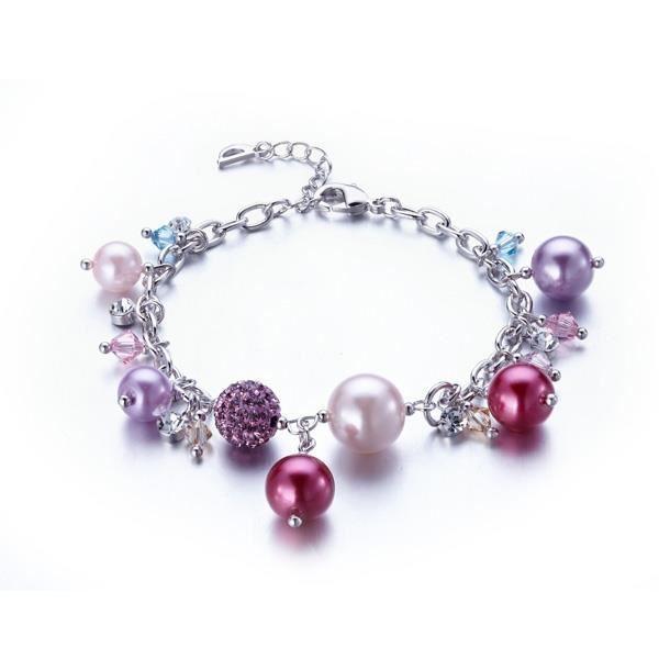 Bracelet Charm's Perles, Cristal de Swarovksi Elements Rose et Plaqué Rhodium