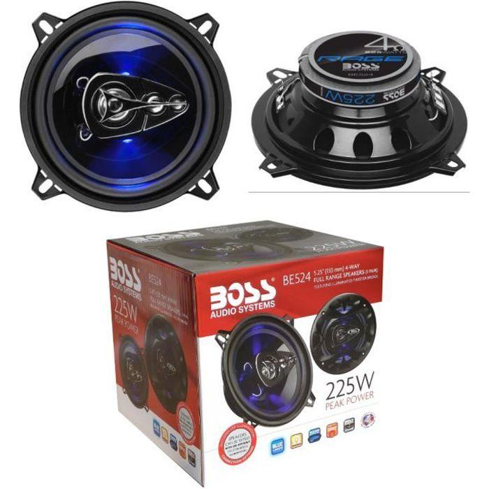 2 haut-parleurs BOSS AUDIO BE524 coaxial 4 voies 5,25- 13 cm 130 mm 112 watt rms 225 watt max 4 ohm 90 db avec led bleu, la paire
