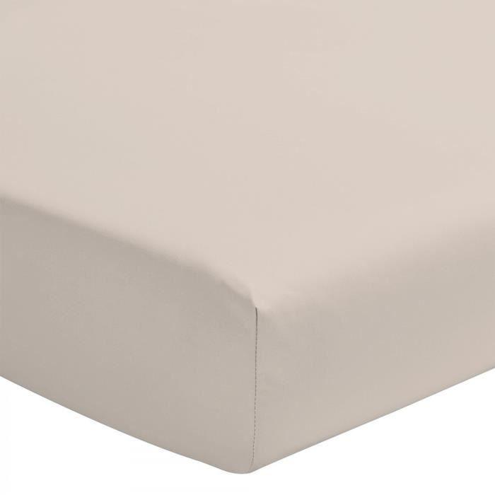 Le Drap Housse extensible - 2 Personnes 140x190 - 100% Coton 57 Fils Bonnet 25cm - Coloris réactif Beige Caramel