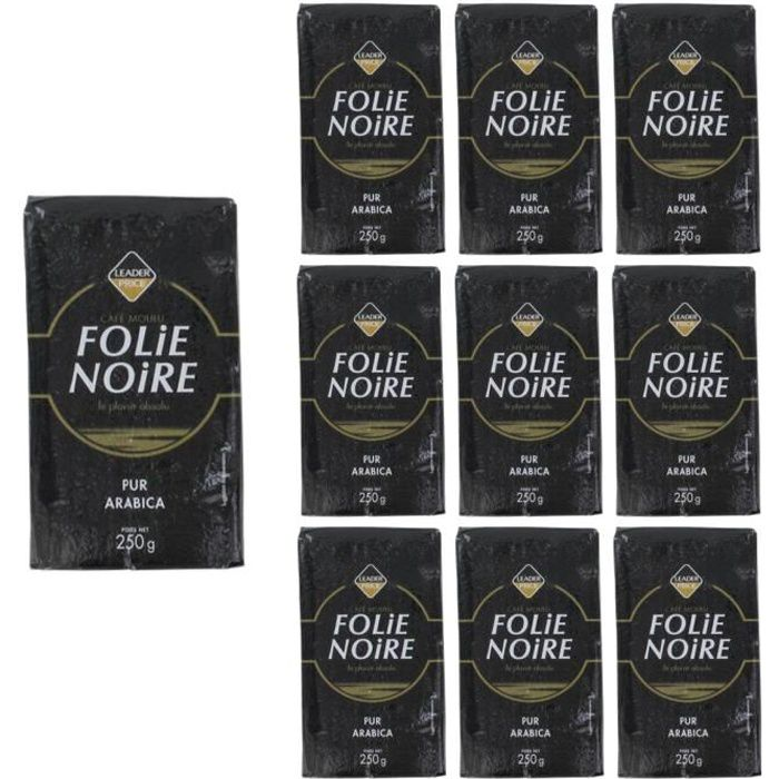 [Lot de 10]Café moulu pur arabica folie noire - 250g par paquet