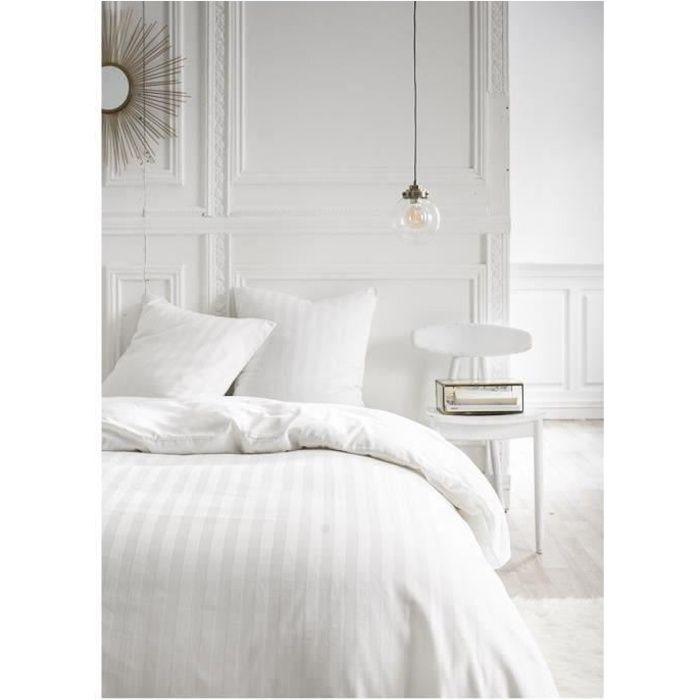 Parure de lit 2 personnes 240X260 Coton uni blanc PREMIUM