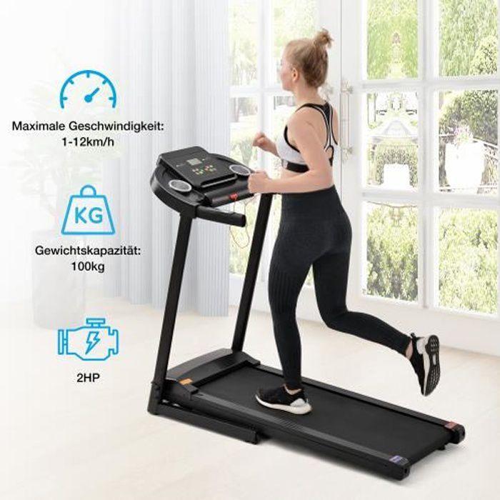 Tapis de course fitness électriques pliables avec écran LED 12 KM/H 12 programmes NOIR
