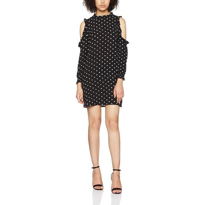 New Look Petite Ruffle Robe Noir (Black Pattern 09), 34 Femme - 5091501-09