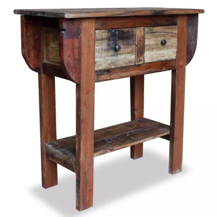 Table Console-Table d'entrée-Table de Salon Bois de récupération massif 80 x 35 x 80 cm