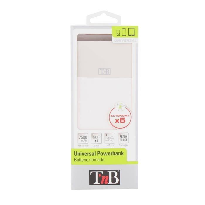 TNB Batterie externe de secours universelle 7500mA