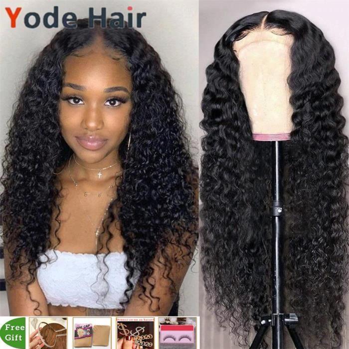 26pouce Perruque Lace Closure Wig Deep Wave Indienne 13x4 Deep Curly Pour Femmes