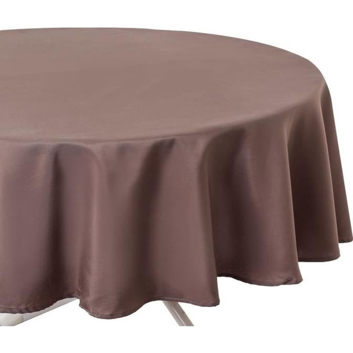 nappe anti taches ronde diam 180 cm taupe achat vente nappe de table cdiscount. Black Bedroom Furniture Sets. Home Design Ideas