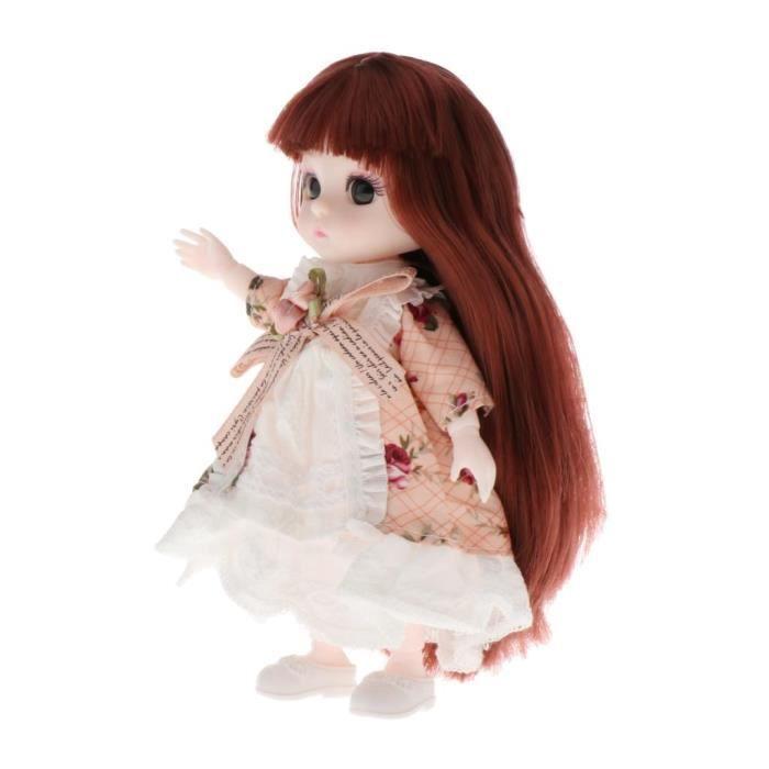 30cm 16 Joints BJD fille poupée cheveux doux cheveux longs mode mignon jouet