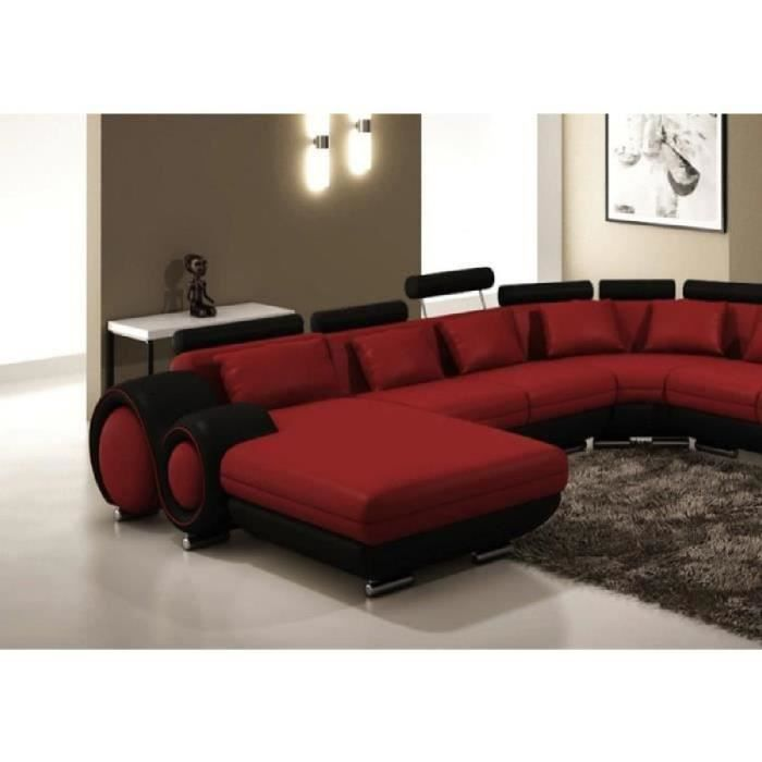 canap panoramique cuir rouge et noir angle droit achat vente chaise cuir cdiscount. Black Bedroom Furniture Sets. Home Design Ideas