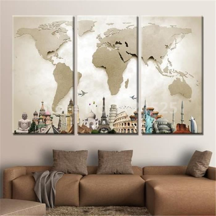 sans cadre de 3 pi ces monde carte toile peinture murale art home decor pour salon cuadros. Black Bedroom Furniture Sets. Home Design Ideas