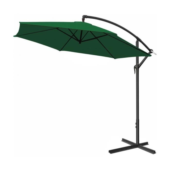 superbe parasol en alu jardin terrasse balcon pare soleil avec manivelle 300cm vert. Black Bedroom Furniture Sets. Home Design Ideas