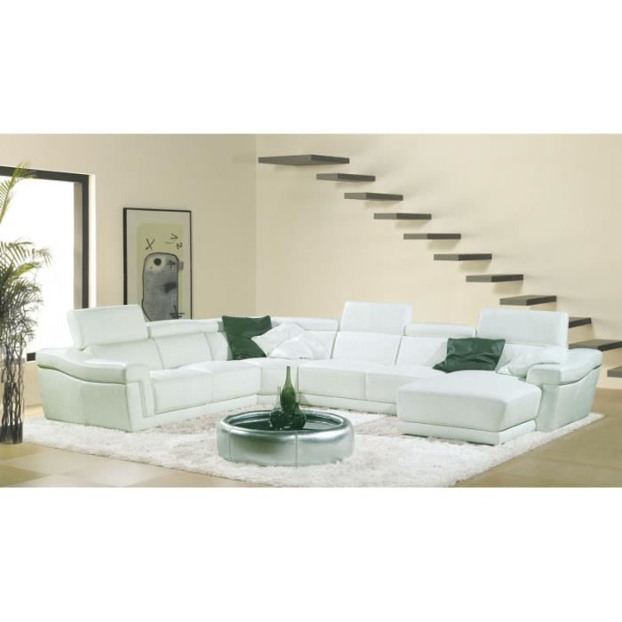 canap d 39 angle panoramique en cuir blanc xxl achat vente canap sofa divan cuir bois. Black Bedroom Furniture Sets. Home Design Ideas