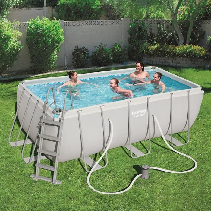 Bestway piscine tubulaire rectangulaire for Piscine jardin rectangle