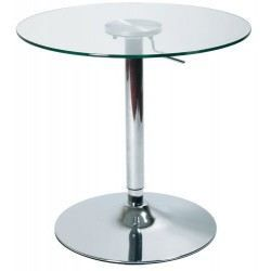 Table de bar en verre r glable achat vente mange for Table ronde de bar