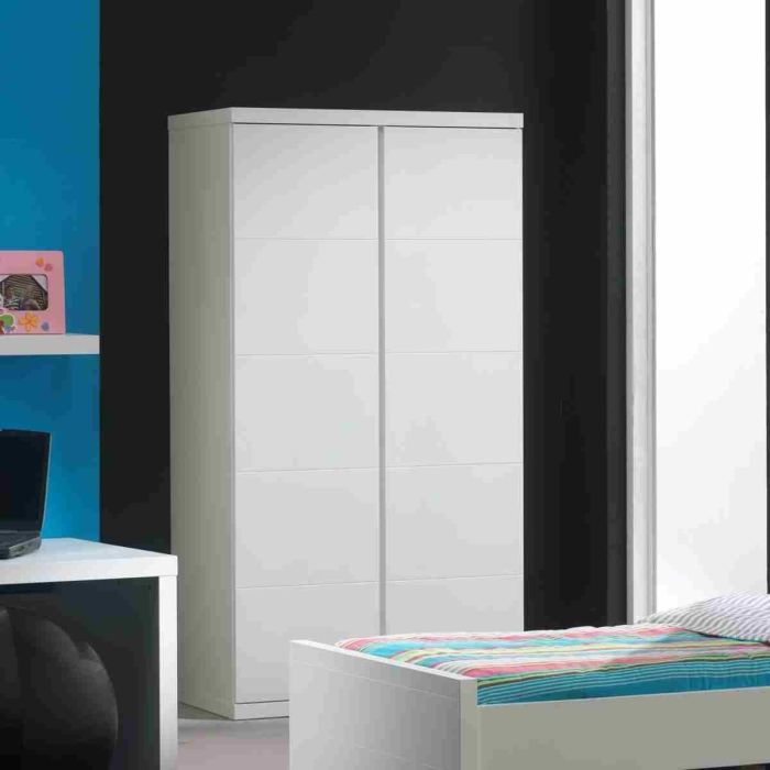 lara armoire 2 portes laqu e blanche achat vente. Black Bedroom Furniture Sets. Home Design Ideas