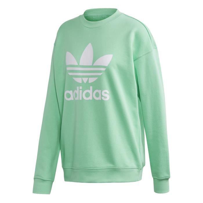 Sweatshirt femme adidas originals Trefoil Crew Vert menthe ...