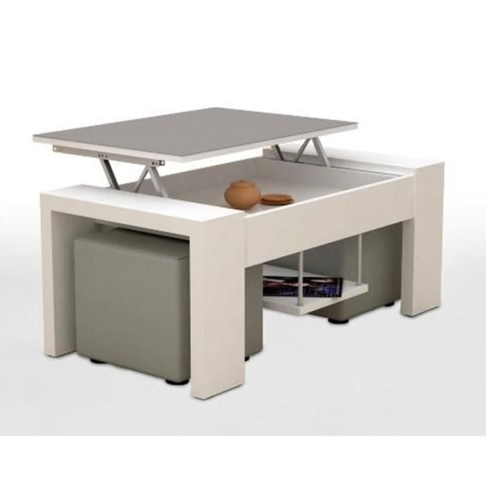 Table basse relevable apollo blanc argent et 2 poufs for Table basse argent