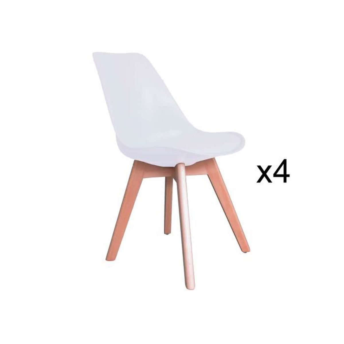 lot de 4 chaises scandinave blanc pies en bois achat vente chaise blanc soldes d t. Black Bedroom Furniture Sets. Home Design Ideas