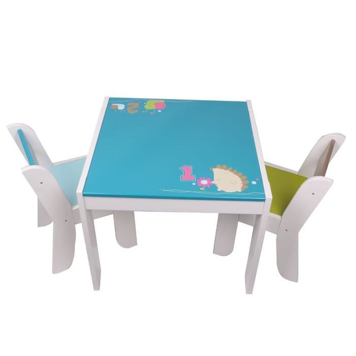 labebe table et 2 chaises enfant motif de h risson hibou. Black Bedroom Furniture Sets. Home Design Ideas
